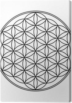Blume des Lebens Symbol Schwarz Weiß 1 Canvas Print