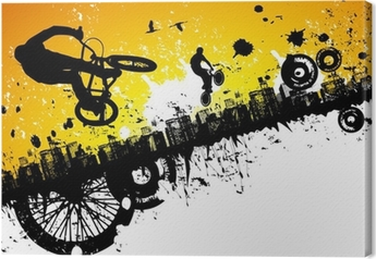 BMX riders in a city background Canvas Print