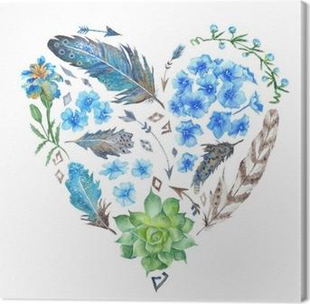 Boho Style Watercolor Heart Shape Canvas Print