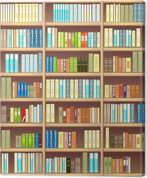 Bookcase full of different colorful books Canvas Print • Pixers ...