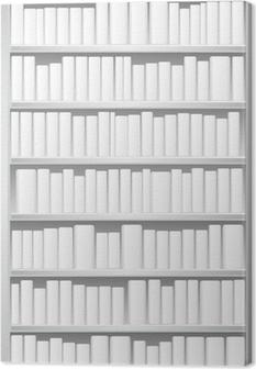 Bookcase with white books Canvas Print