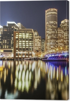 Boston Harbor and Financial District at Night Canvas Print