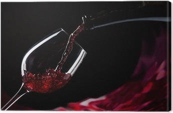 bottle and glass with red wine Canvas Print