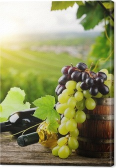 Bottles of red and white wine with fresh grape Canvas Print