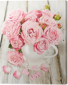 bouquet of pink roses in a vase Canvas Print