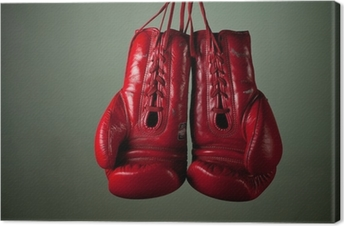 Boxing gloves hanging from laces on a grey background Canvas Print