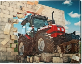 Brand new Tractor breaking through the wall Canvas Print