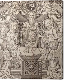 BRATISLAVA, SLOVAKIA, NOVEMBER - 21, 2016: The lithography of Presentation in the Temple by unknown artist with the initials F.M.S (1893) and printed by Typis Friderici Pustet. Canvas Print