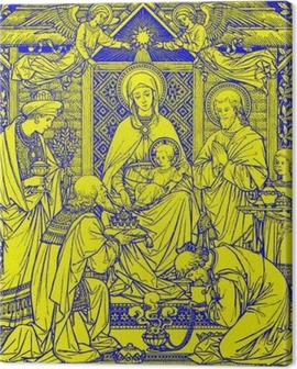 BRATISLAVA, SLOVAKIA, NOVEMBER - 21, 2016: The lithography of Three Magi in Missale Romanum by unknown artist with the initials F.M.S from end of 19. cent. and printed by Typis Friderici Pustet. Canvas Print