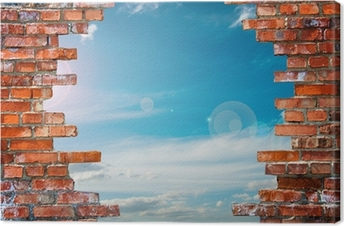 brick wall with hole Canvas Print