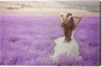 Bride in wedding day in lavender field Canvas Print