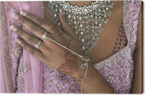 Bride S Hand With Henna Tattoo And Jewellery Indian Wedding Canvas