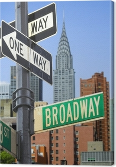 Broadway sign in front of New York City skyline Canvas Print