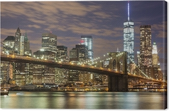 Brooklyn Bridge and Downtown Skyscrapers in New York at Dusk Canvas Print
