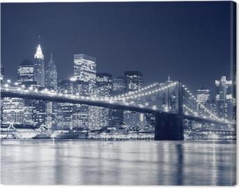 Brooklyn Bridge and Manhattan skyline At Night, New York City Canvas Print