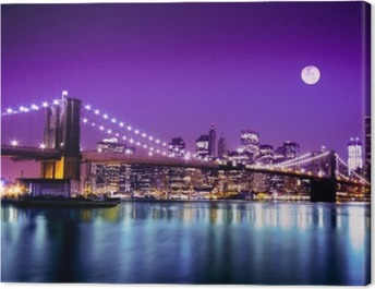 Brooklyn Bridge and NYC skyline with full moon Canvas Print