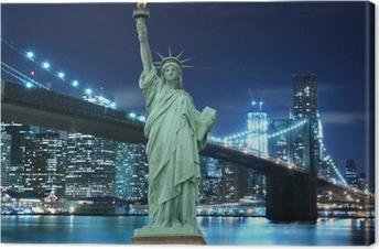 Brooklyn Bridge and The Statue of Liberty at Night Canvas Print