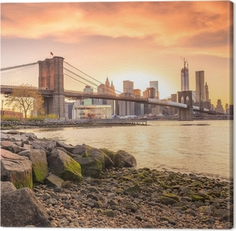 Brooklyn Bridge at sunset Canvas Print
