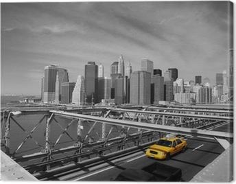 Brooklyn Bridge Taxi, New York Canvas Print