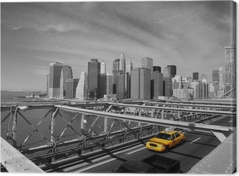 Brooklyn Bridge Taxi, New York Canvas Print