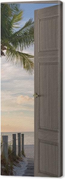 Brown door - Panorama Canvas Print -