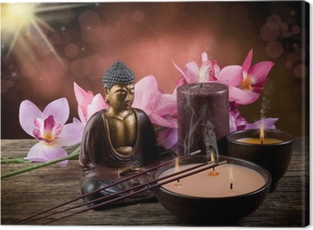 buddah witn candle and incense Canvas Print