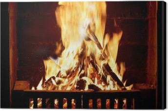 Burning fire in the fireplace Canvas Print