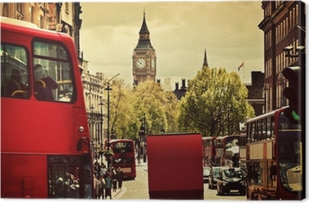 Busy street of London, England, the UK. Red buses, Big Ben Canvas Print
