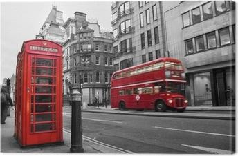 Cabine téléphonique et bus rouges à Londres (UK) Canvas Print