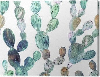 Cactus pattern in watercolor style Canvas Print