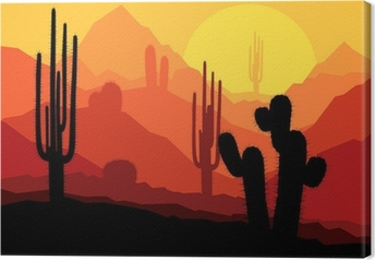 Cactus plants in Mexico desert sunset vector Canvas Print