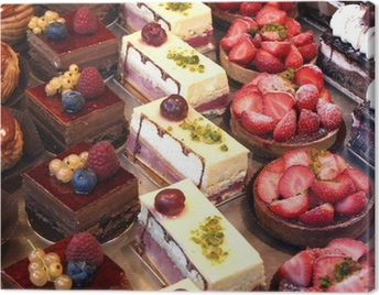 cake and pastry display Canvas Print