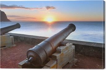 Canons du barachois au coucher du soleil, Ile de la Réunion Canvas Print