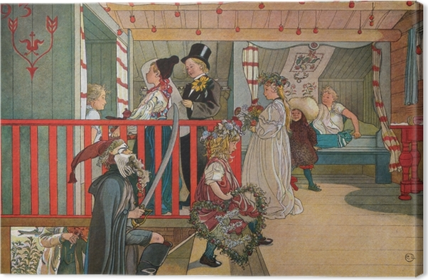 Carl Larsson - Nameday at the Storage House Canvas Print - Reproductions