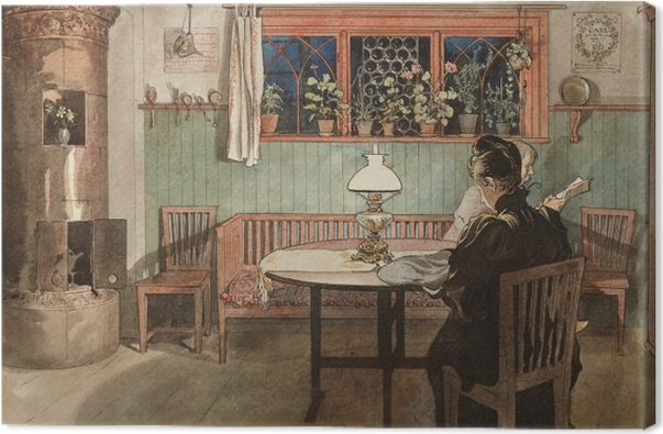 Carl Larsson - When the Children have Gone to Bed Canvas Print - Reproductions