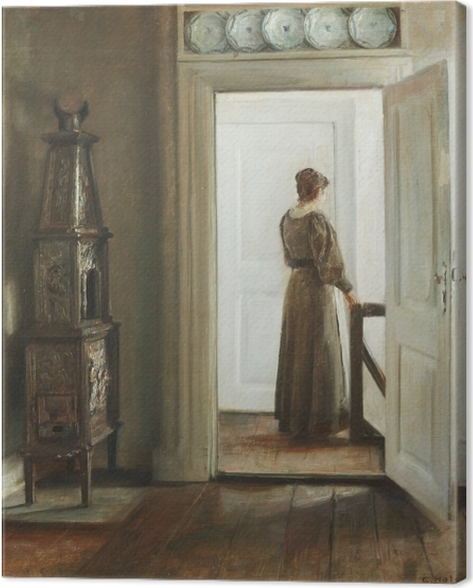 Carl Vilhelm Holsøe - Interior with a Woman Canvas Print - Reproductions