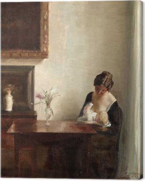 Carl Vilhelm Holsøe - Interior with Woman and Child Canvas Print - Reproductions