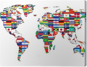 Carte du Monde avec drapeaux Canvas Print