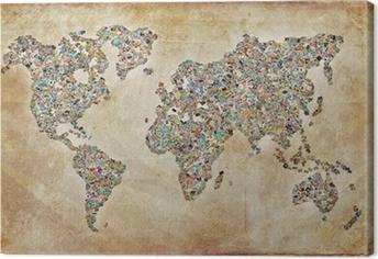 Carte du monde photos, texture vintage Canvas Print