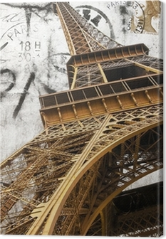 cartolina vintage della tour Eiffel Canvas Print
