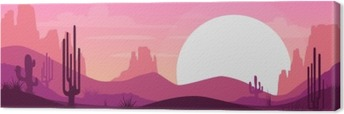 Cartoon desert landscape Canvas Print