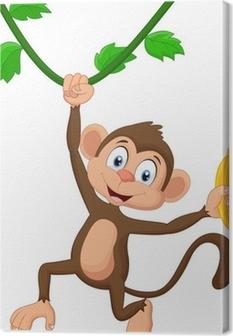Cartoon monkey hanging Canvas Print