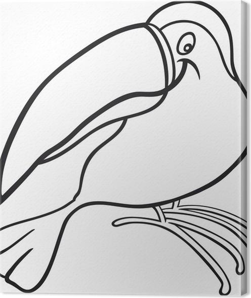 Cartoon Toucan For Coloring Book Canvas Print