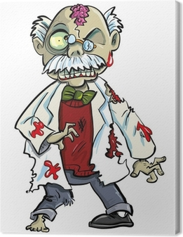 Cartoon zombie scientist with brains showing. Isolated on white Canvas Print