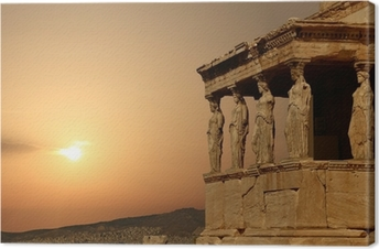 Caryatids on the Athenian Acropolis at sunset, Greece Canvas Print