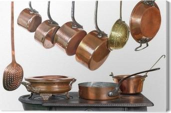 casseroles et ustensiles de cuisine, en cuivre Canvas Print