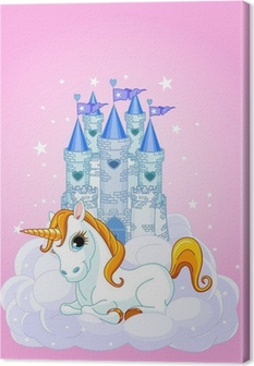 Castle and Unicorn Canvas Print