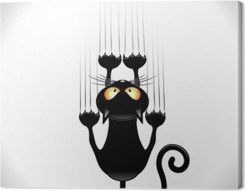 Cat Cartoon Scratching Wall-Gatto nero Graffia Muro Canvas Print