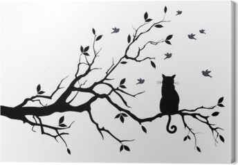 cat on a tree with birds, vector Canvas Print