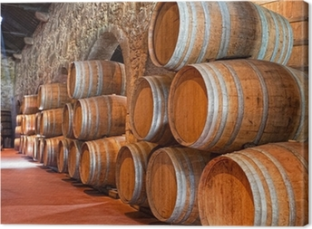 cellar with wine barrels Canvas Print
